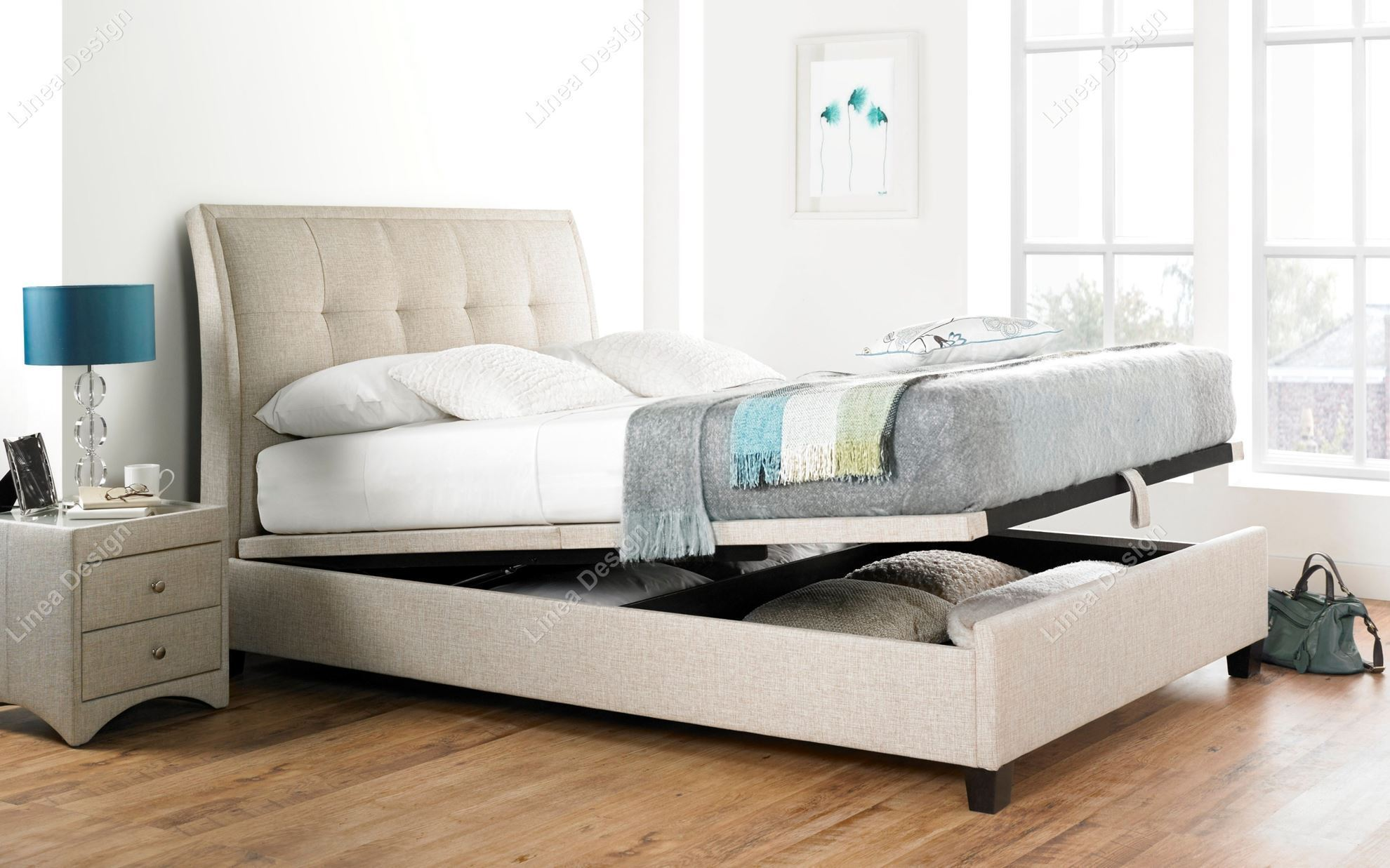 Kaydian Accent Fabric Ottoman Storage Bed