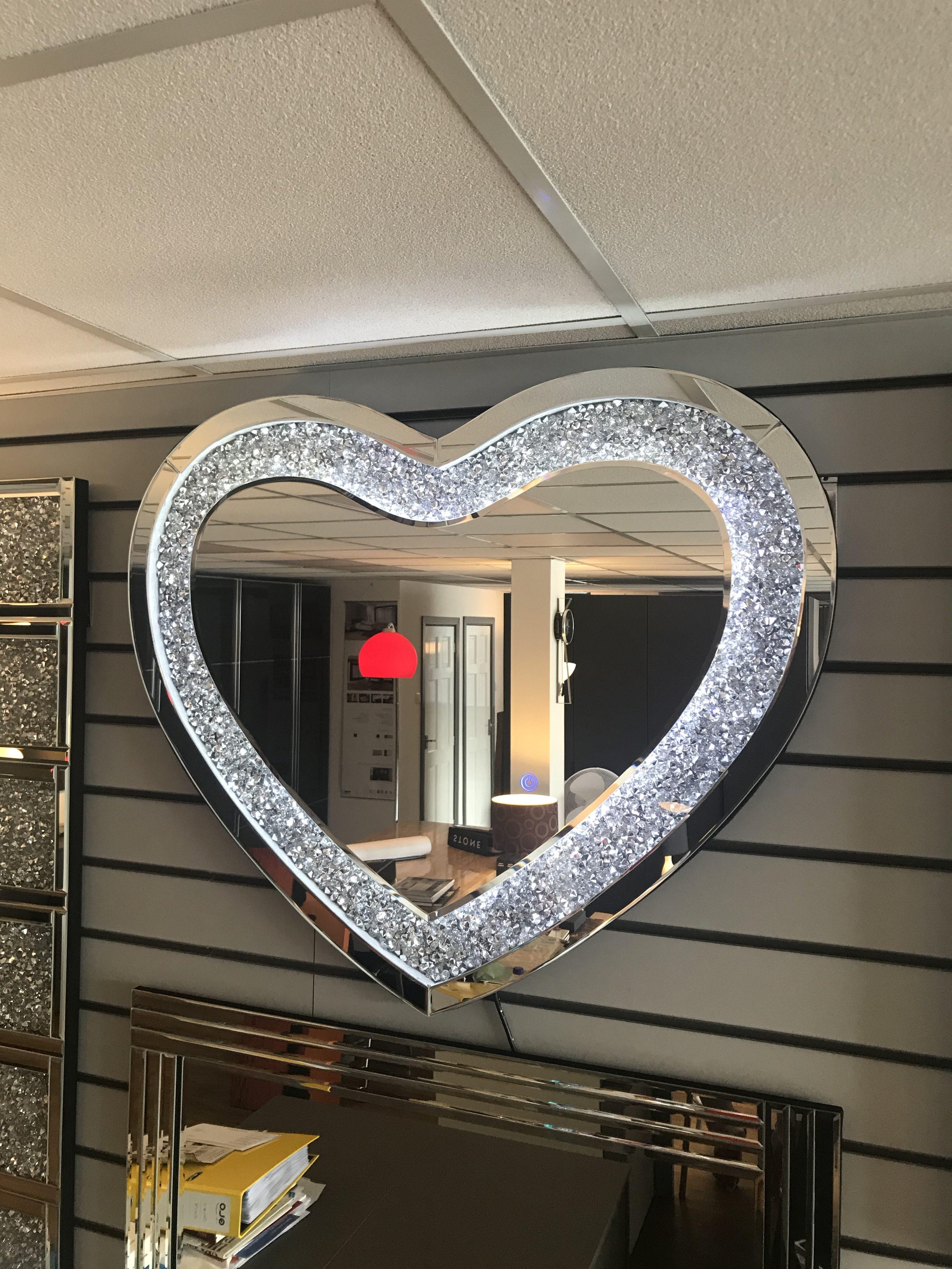 Designer Crushed Diamond Heart Shaped Led Mirror 70cm X 90cm Ln1760 Linea Design